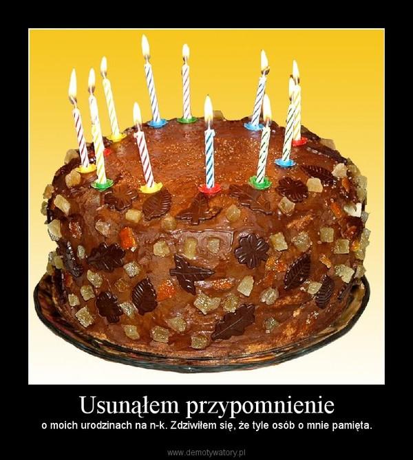 Usunąłem przypomnienie – o moich urodzinach na n-k. Zdziwiłem się, że tyle osób o mnie pamięta.