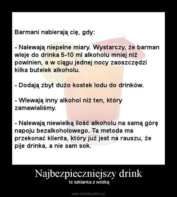 Najbezpieczniejszy drink – to szklanka z wódką