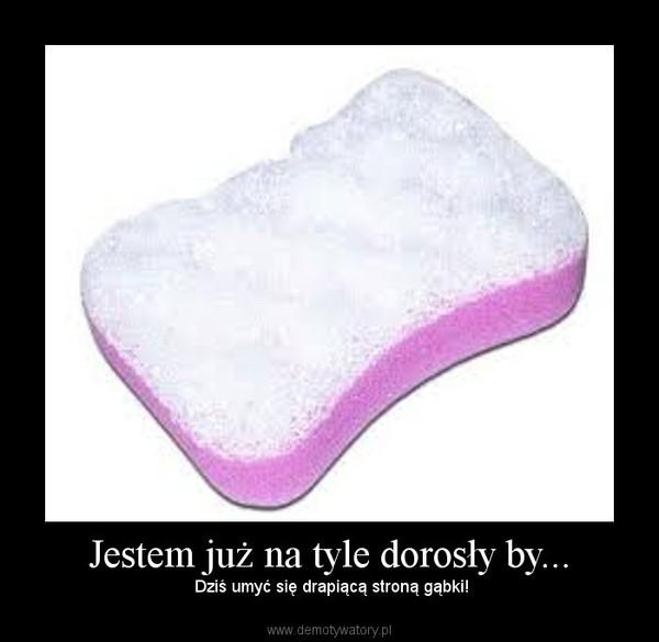 Jestem już na tyle dorosły by... – Dziś umyć się drapiącą stroną gąbki!