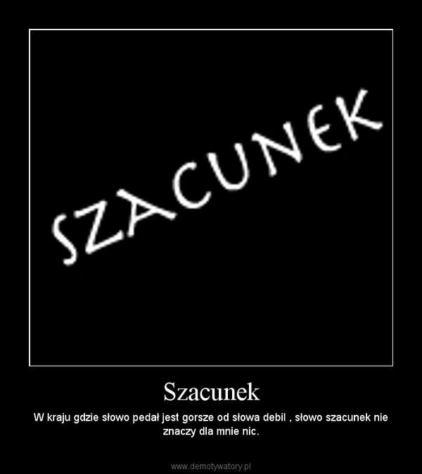 Szacunek – W kraju gdzie słowo pedał jest gorsze od słowa debil , słowo szacunek nie znaczy dla mnie nic.