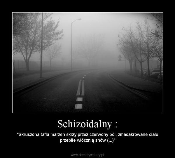 """Schizoidalny : – """"Skruszona tafla marzeń skrzy przez czerwony ból, zmasakrowane ciało przebite włócznią snów (...)"""""""