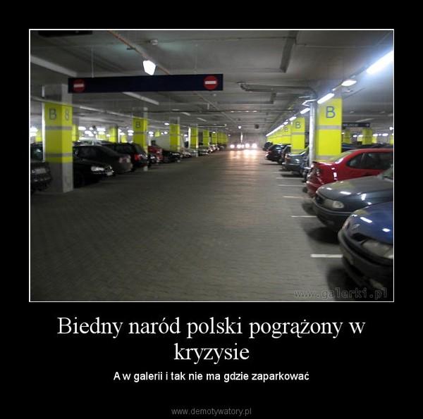 Biedny naród polski pogrążony w kryzysie – A w galerii i tak nie ma gdzie zaparkować