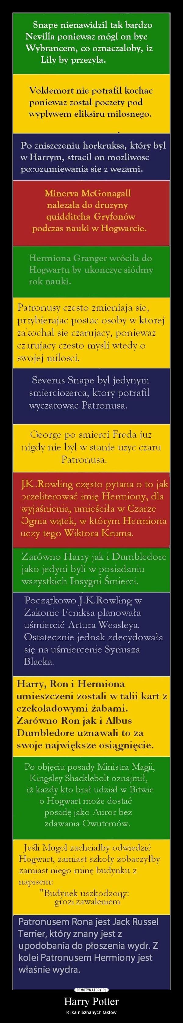 Harry Potter – Kilka nieznanych faktów
