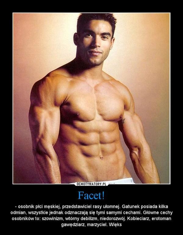 Facet! – - osobnik płci męskiej, przedstawiciel rasy ułomnej. Gatunek posiada kilka odmian, wszystkie jednak odznaczają się tymi samymi cechami. Główne cechy osobników to: szowinizm, wtórny debilizm, niedorozwój. Kobieciarz, erotoman gawędziarz, marzyciel. Więks