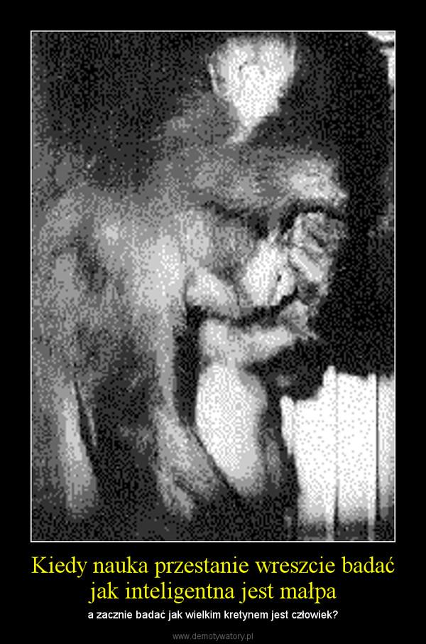 Kiedy nauka przestanie wreszcie badać jak inteligentna jest małpa – a zacznie badać jak wielkim kretynem jest człowiek?