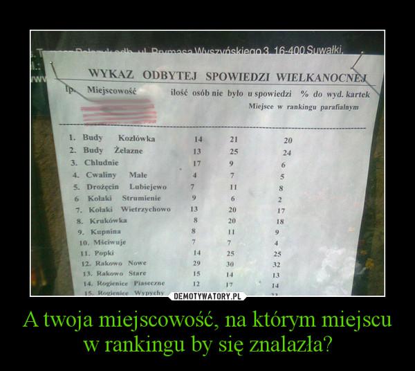 A twoja miejscowość, na którym miejscu w rankingu by się znalazła? –