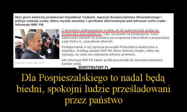 Dla Pospieszalskiego to nadal będą biedni, spokojni ludzie prześladowani przez państwo –