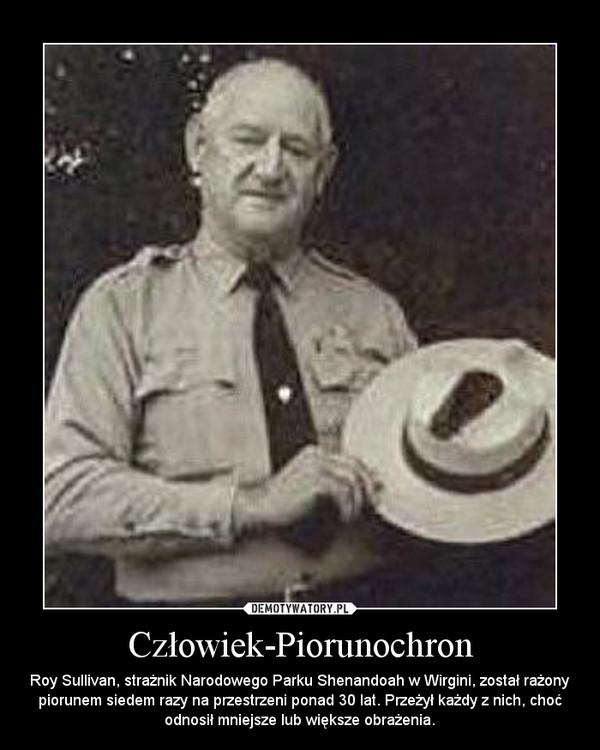 Człowiek-Piorunochron – Roy Sullivan, strażnik Narodowego Parku Shenandoah w Wirgini, został rażony piorunem siedem razy na przestrzeni ponad 30 lat. Przeżył każdy z nich, choć odnosił mniejsze lub większe obrażenia.