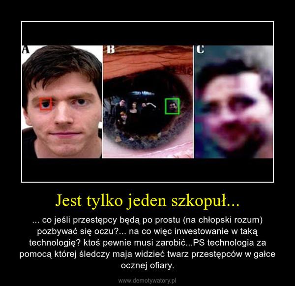 Jest tylko jeden szkopuł... – ... co jeśli przestępcy będą po prostu (na chłopski rozum) pozbywać się oczu?... na co więc inwestowanie w taką technologię? ktoś pewnie musi zarobić...PS technologia za pomocą której śledczy maja widzieć twarz przestępców w gałce ocznej ofiary.