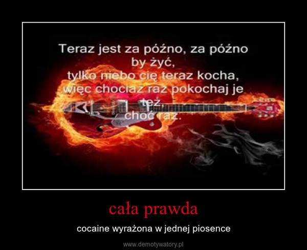 cała prawda – cocaine wyrażona w jednej piosence