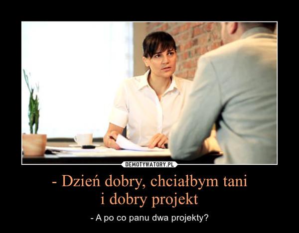 - Dzień dobry, chciałbym tanii dobry projekt – - A po co panu dwa projekty?
