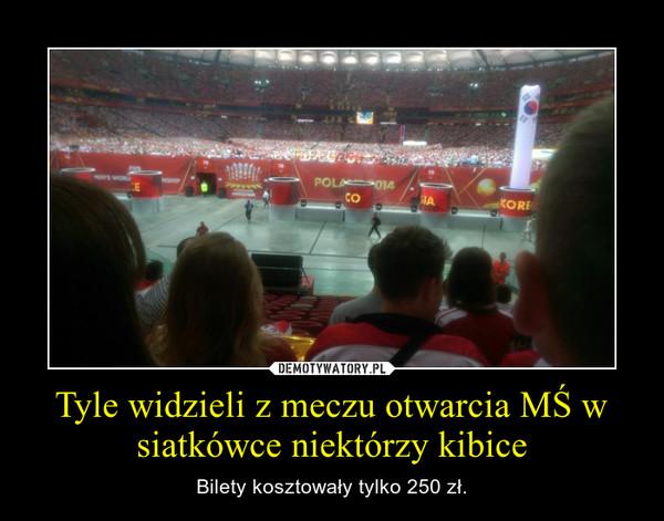 Tyle widzieli z meczu otwarcia MŚ w siatkówce niektórzy kibice – Bilety kosztowały tylko 250 zł.
