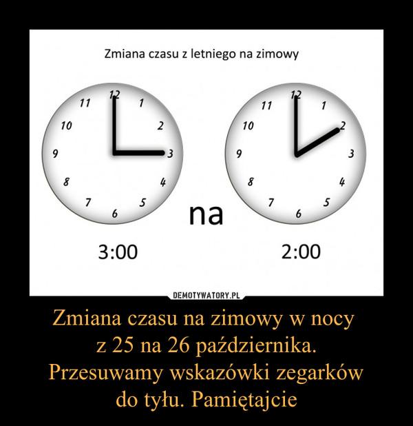 Zmiana czasu na zimowy w nocy  z 25 na 26 października. Przesuwamy wskazówki zegarków do tyłu. Pamiętajcie –