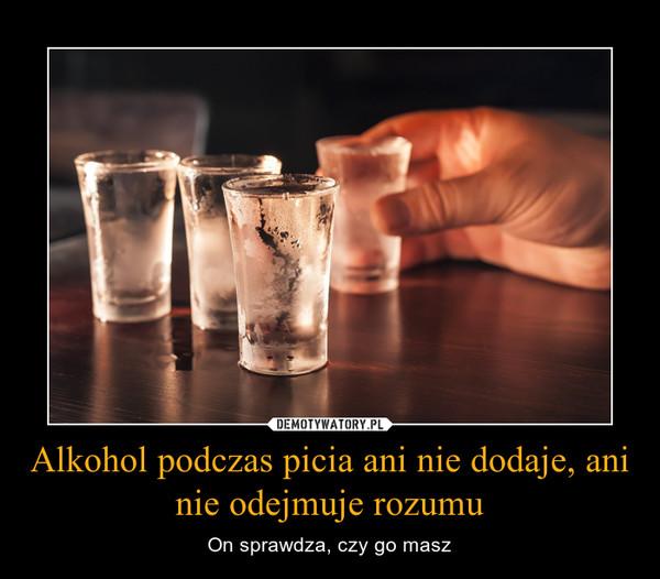 Alkohol podczas picia ani nie dodaje, ani nie odejmuje rozumu – On sprawdza, czy go masz