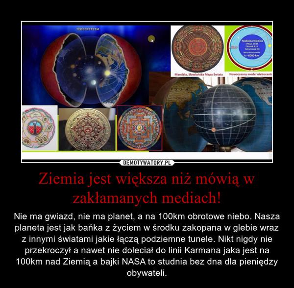 Ziemia jest większa niż mówią w zakłamanych mediach! – Nie ma gwiazd, nie ma planet, a na 100km obrotowe niebo. Nasza planeta jest jak bańka z życiem w środku zakopana w glebie wraz z innymi światami jakie łączą podziemne tunele. Nikt nigdy nie przekroczył a nawet nie doleciał do linii Karmana jaka jest na 100km nad Ziemią a bajki NASA to studnia bez dna dla pieniędzy obywateli.