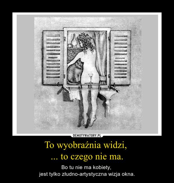 To wyobraźnia widzi, ... to czego nie ma. – Bo tu nie ma kobiety, jest tylko złudno-artystyczna wizja okna.