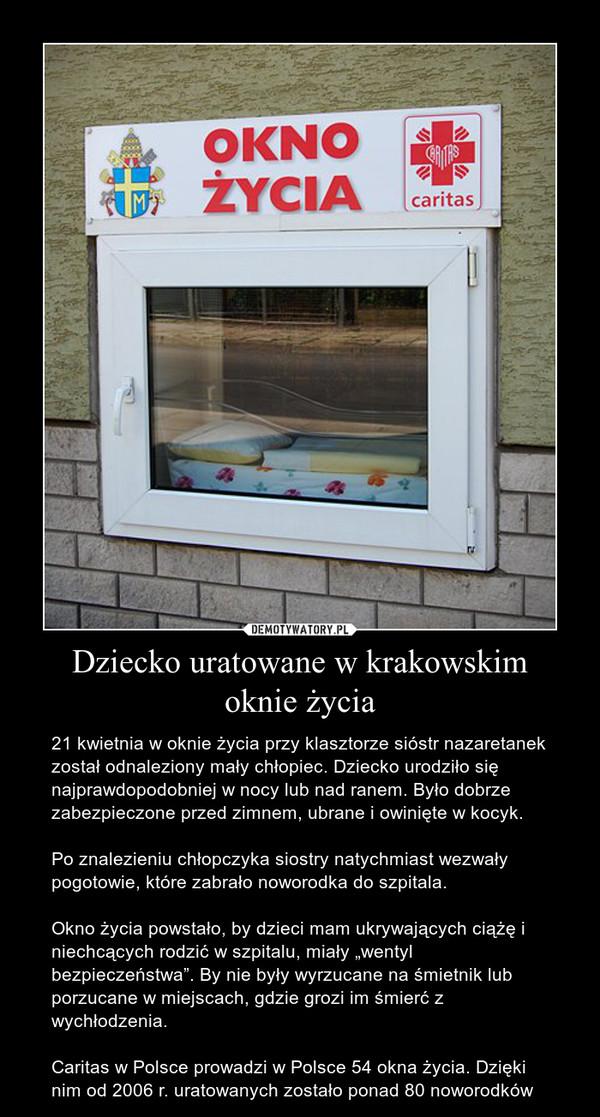 Dziecko uratowane w krakowskim oknie życia