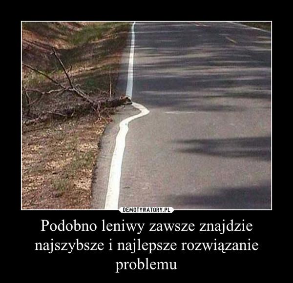 Podobno leniwy zawsze znajdzie najszybsze i najlepsze rozwiązanie problemu –