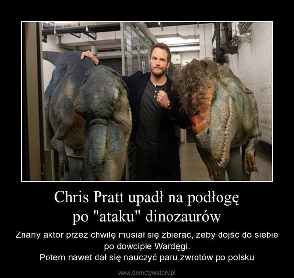 """Chris Pratt upadł na podłogępo """"ataku"""" dinozaurów – Znany aktor przez chwilę musiał się zbierać, żeby dojść do siebie po dowcipie Wardęgi.Potem nawet dał się nauczyć paru zwrotów po polsku"""
