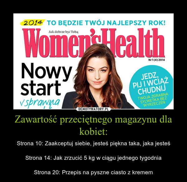 Zawartość przeciętnego magazynu dla kobiet: – Strona 10: Zaakceptuj siebie, jesteś piękna taka, jaka jesteśStrona 14: Jak zrzucić 5 kg w ciągu jednego tygodniaStrona 20: Przepis na pyszne ciasto z kremem