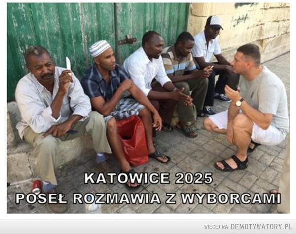 Katowice 2025. Poseł rozmawia z wyborcami. –