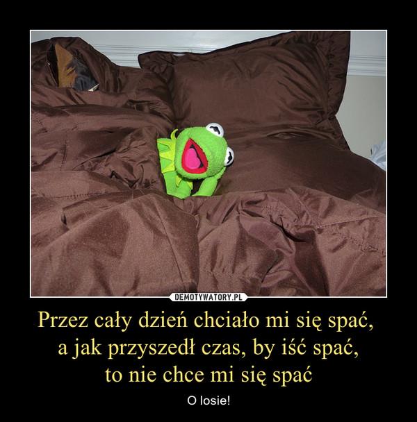 Przez cały dzień chciało mi się spać, a jak przyszedł czas, by iść spać,to nie chce mi się spać – O losie!