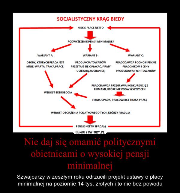 Nie daj się omamić politycznymi obietnicami o wysokiej pensji minimalnej – Szwajcarzy w zeszłym roku odrzucili projekt ustawy o płacy minimalnej na poziomie 14 tys. złotych i to nie bez powodu