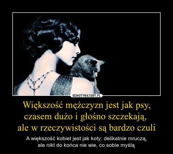 Większość mężczyzn jest jak psy, czasem dużo i głośno szczekają,  ale w rzeczywistości są bardzo czuli – A większość kobiet jest jak koty: delikatnie mruczą, ale nikt do końca nie wie, co sobie myślą