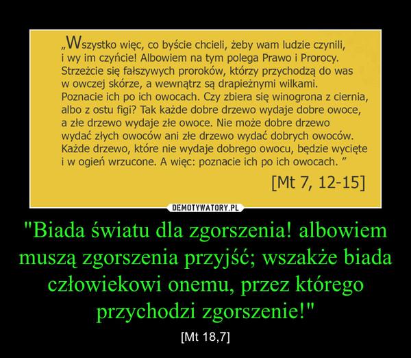 """""""Biada światu dla zgorszenia! albowiem muszą zgorszenia przyjść; wszakże biada człowiekowi onemu, przez którego przychodzi zgorszenie!"""" – [Mt 18,7]"""