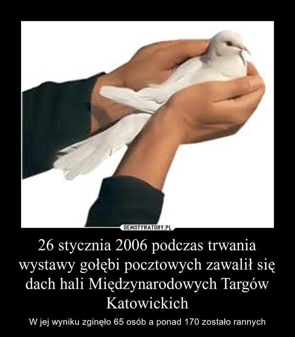 26 stycznia 2006 podczas trwania wystawy gołębi pocztowych zawalił się dach hali Międzynarodowych Targów Katowickich – W jej wyniku zginęło 65 osób a ponad 170 zostało rannych