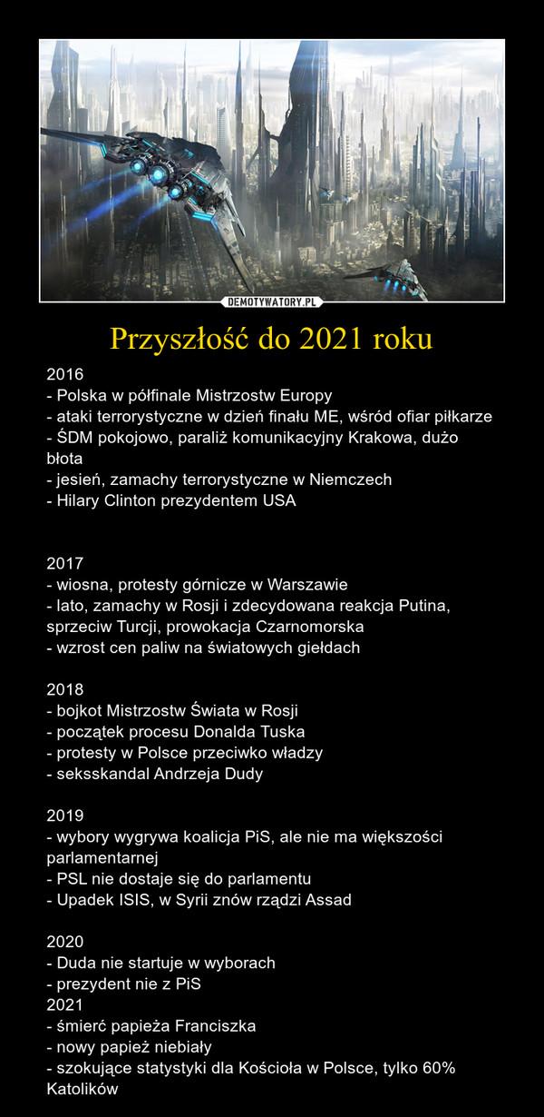 Przyszłość do 2021 roku – 2016 - Polska w półfinale Mistrzostw Europy- ataki terrorystyczne w dzień finału ME, wśród ofiar piłkarze- ŚDM pokojowo, paraliż komunikacyjny Krakowa, dużo błota- jesień, zamachy terrorystyczne w Niemczech- Hilary Clinton prezydentem USA2017- wiosna, protesty górnicze w Warszawie- lato, zamachy w Rosji i zdecydowana reakcja Putina, sprzeciw Turcji, prowokacja Czarnomorska- wzrost cen paliw na światowych giełdach2018- bojkot Mistrzostw Świata w Rosji- początek procesu Donalda Tuska- protesty w Polsce przeciwko władzy- seksskandal Andrzeja Dudy2019- wybory wygrywa koalicja PiS, ale nie ma większości parlamentarnej- PSL nie dostaje się do parlamentu- Upadek ISIS, w Syrii znów rządzi Assad2020- Duda nie startuje w wyborach- prezydent nie z PiS2021- śmierć papieża Franciszka- nowy papież niebiały- szokujące statystyki dla Kościoła w Polsce, tylko 60% Katolików
