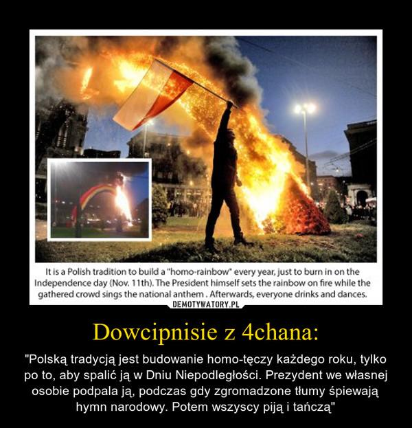 """Dowcipnisie z 4chana: – """"Polską tradycją jest budowanie homo-tęczy każdego roku, tylko po to, aby spalić ją w Dniu Niepodległości. Prezydent we własnej osobie podpala ją, podczas gdy zgromadzone tłumy śpiewają hymn narodowy. Potem wszyscy piją i tańczą"""""""
