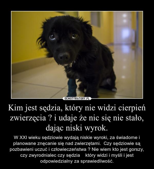 Kim jest sędzia, który nie widzi cierpień zwierzęcia ? i udaje że nic się nie stało, dając niski wyrok. – W XXI wieku sędziowie wydają niskie wyroki, za świadome i planowane znęcanie się nad zwierzętami.  Czy sędziowie są pozbawieni uczuć i człowieczeństwa ? Nie wiem kto jest gorszy, czy zwyrodnialec czy sędzia    który widzi i myśli i jest odpowiedzialny za sprawiedliwość.