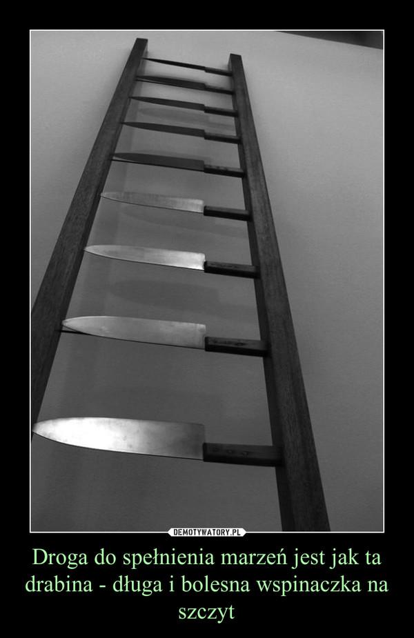Droga do spełnienia marzeń jest jak ta drabina - długa i bolesna wspinaczka na szczyt –