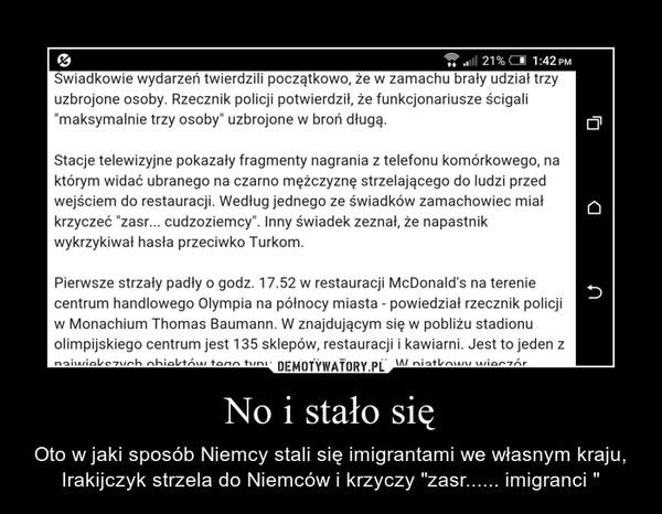 """No i stało się – Oto w jaki sposób Niemcy stali się imigrantami we własnym kraju, Irakijczyk strzela do Niemców i krzyczy """"zasr...... imigranci """""""