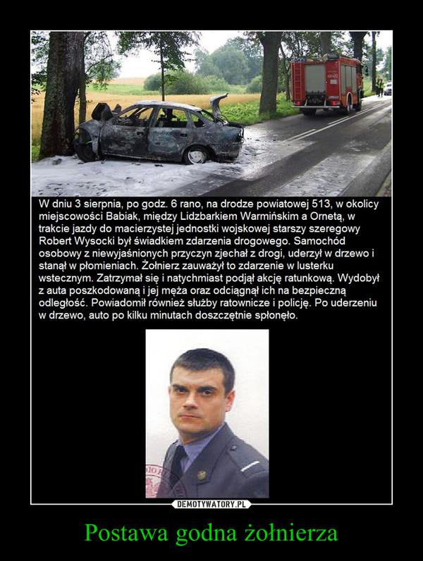 Postawa godna żołnierza –  W dniu 3 sierpnia, po godz. 6 rano, na drodze powiatowej 513, w okolicymiejscowości Babiak, między Lidzbarkiem Warmińskim a Orneta, wtrakcie jazdy do macierzystej jednostki wojskowej starszy szeregowyRobert Wysocki był świadkiem zdarzenia drogowego. Samochódosobowy z niewyjaśnionych przyczyn zjechał z drogi, uderzył w drzewo istanął w płomieniach. Żołnierz zauważył to zdarzenie w lusterkuwstecznym. Zatrzymał się i natychmiast podjął akcję ratunkową. Wydobyłz auta poszkodowaną ijej męża oraz odciągnął ich na bezpiecznąodległość. Powiadomił również służby ratownicze i policję. Po uderzeniuw drzewo, auto po kilku minutach doszczętnie spłonęło.