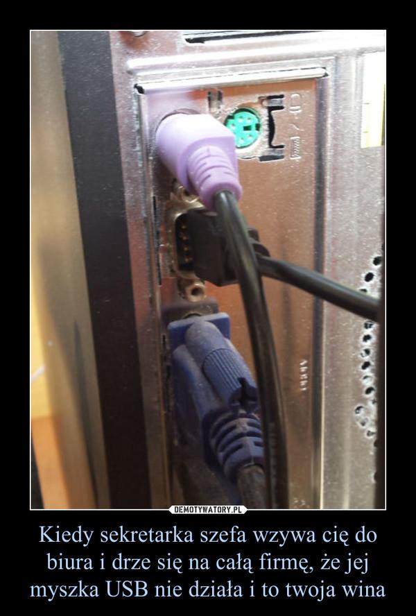 Kiedy sekretarka szefa wzywa cię do biura i drze się na całą firmę, że jej myszka USB nie działa i to twoja wina –