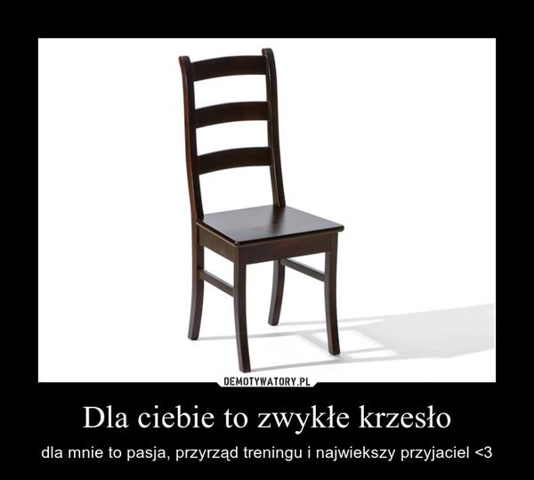 Dla ciebie to zwykłe krzesło – dla mnie to pasja, przyrząd treningu i najwiekszy przyjaciel <3