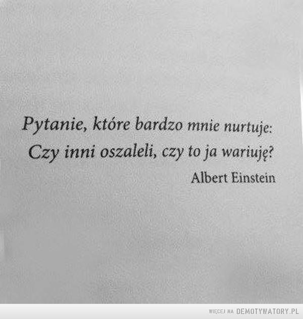 Cytat wiecznie na czasie –  Pytanie, które bardzo mnie nurtuje;Czy inni oszaleli, czy to ja wariuję?Albert Einstein