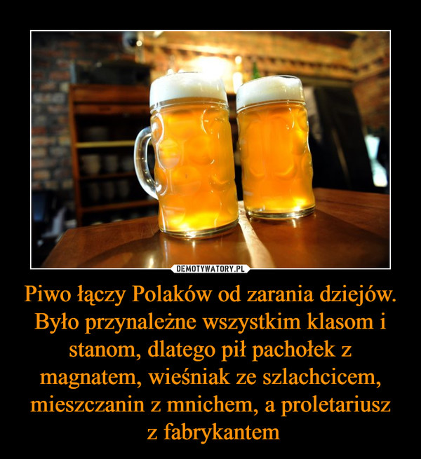 Piwo łączy Polaków od zarania dziejów. Było przynależne wszystkim klasom i stanom, dlatego pił pachołek z magnatem, wieśniak ze szlachcicem, mieszczanin z mnichem, a proletariusz z fabrykantem –