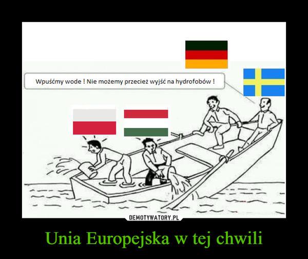 Unia Europejska w tej chwili –  Wpuśćmy wode ! Nie możemy przecież wyjść na hybrofobów !