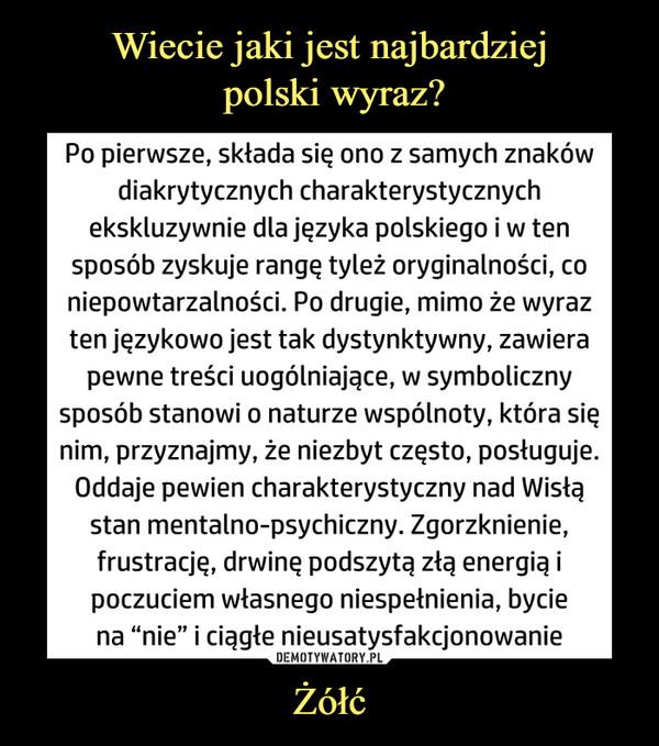 """Żółć –  Po pierwsze, składa się ono z samych znaków diakrytycznych charakterystycznych ekskluzywnie dla języka polskiego i w ten sposób zyskuje rangę tyleż oryginalności, co niepowtarzalności. Po drugie, mimo że wyraz ten językowo jest tak dystynktywny, zawiera pewne treści uogólniające, w symboliczny sposób stanowi o naturze wspólnoty, która się nim, przyznajmy, że niezbyt często, posługuje. Oddaje pewien charakterystyczny nad Wisłą stan mentalno-psychiczny. Zgorzknienie, frustrację, drwinę podszytą złą energią i poczuciem własnego niespełnienia, bycie na """"nie"""" i ciągłe nieusatysfakcjonowanie"""