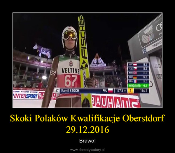 Skoki Polaków Kwalifikacje Oberstdorf 29.12.2016 – Brawo!