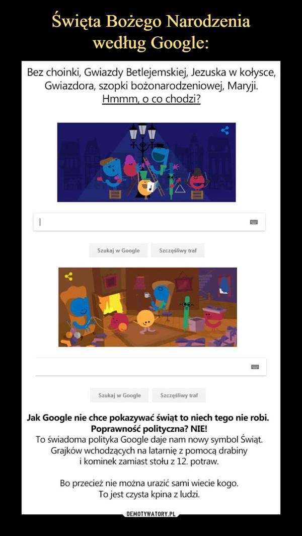 –  Święta Bożego Narodzenia według Google: Bez choinki, Gwiazdy Betlejemskiej, Jezuska w kołysce, Gwiazdora, szopki bożonarodzeniowej, Maryji. Hmmm, o co chodzi? Jak Google nie chce pokazywać świąt to niech tego nie robi. Poprawność polityczna, NIE, To świadoma polityka Google daje nam nowy symbol Świąt. Grajków wchodzących na latarnię z pomocą drabiny i kominek zamiast stołu z 12. potraw. Bo przecież nie można urazić sami wiecie kogo. To jest czysta kpina z ludzi.