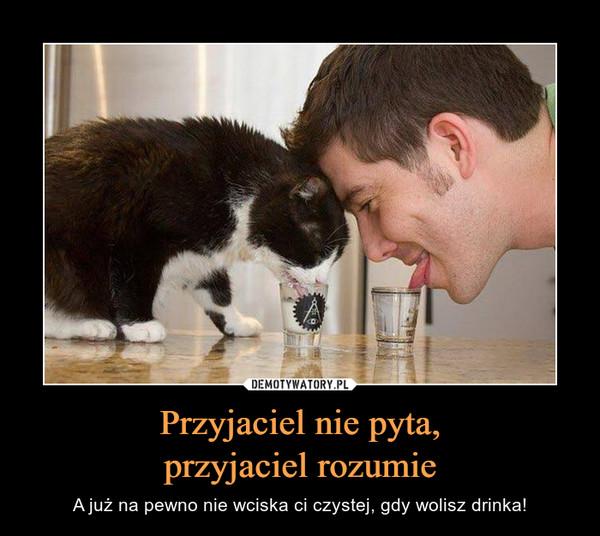 Przyjaciel nie pyta,przyjaciel rozumie – A już na pewno nie wciska ci czystej, gdy wolisz drinka!