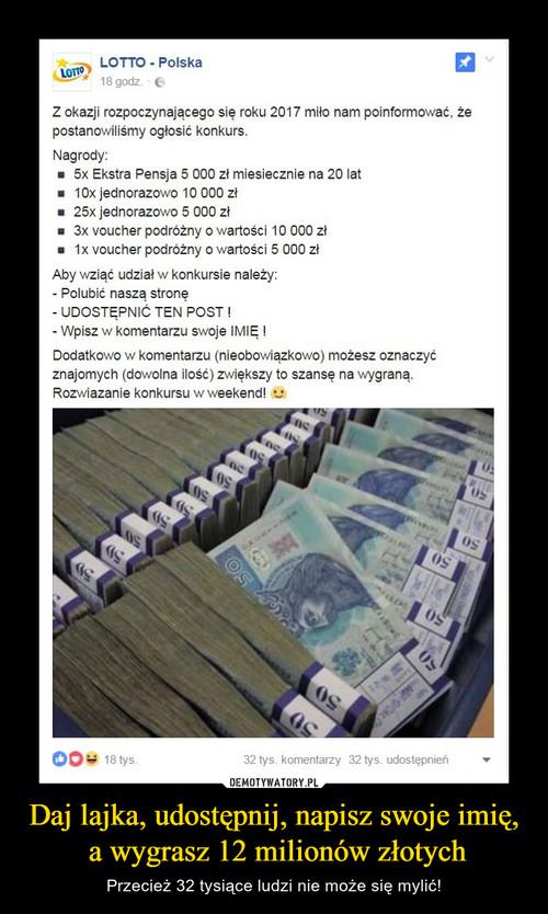 Daj lajka, udostępnij, napisz swoje imię,  a wygrasz 12 milionów złotych