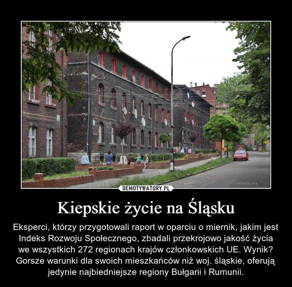Kiepskie życie na Śląsku – Eksperci, którzy przygotowali raport w oparciu o miernik, jakim jest Indeks Rozwoju Społecznego, zbadali przekrojowo jakość życia we wszystkich 272 regionach krajów członkowskich UE. Wynik? Gorsze warunki dla swoich mieszkańców niż woj. śląskie, oferują jedynie najbiedniejsze regiony Bułgarii i Rumunii.