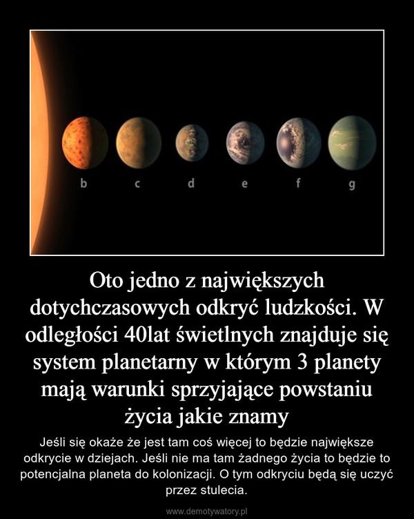 Oto jedno z największych dotychczasowych odkryć ludzkości. W odległości 40lat świetlnych znajduje się system planetarny w którym 3 planety mają warunki sprzyjające powstaniu życia jakie znamy – Jeśli się okaże że jest tam coś więcej to będzie największe odkrycie w dziejach. Jeśli nie ma tam żadnego życia to będzie to potencjalna planeta do kolonizacji. O tym odkryciu będą się uczyć przez stulecia.