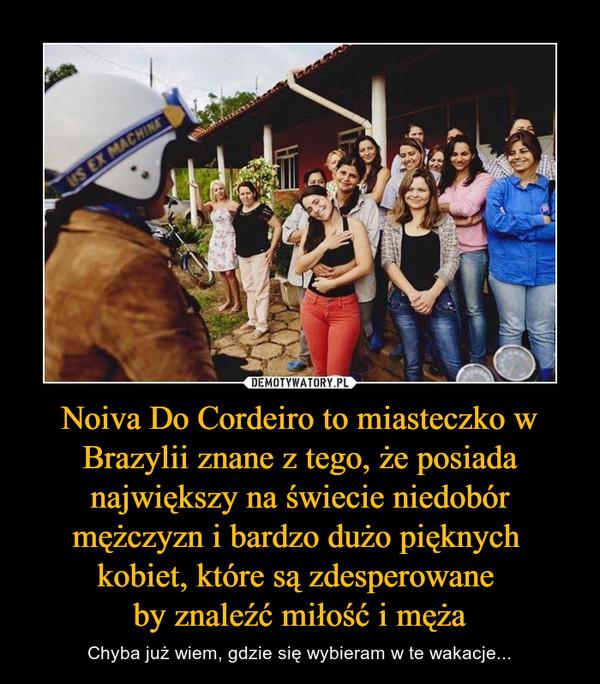 Noiva Do Cordeiro to miasteczko w Brazylii znane z tego, że posiada największy na świecie niedobór mężczyzn i bardzo dużo pięknych kobiet, które są zdesperowane by znaleźć miłość i męża – Chyba już wiem, gdzie się wybieram w te wakacje...