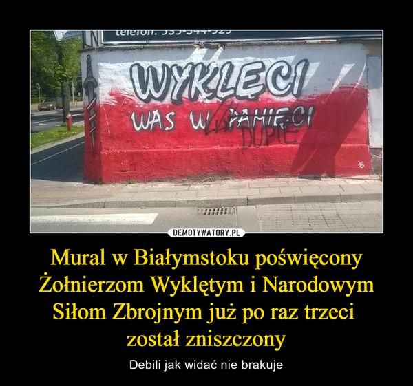 Mural w Białymstoku poświęcony Żołnierzom Wyklętym i Narodowym Siłom Zbrojnym już po raz trzeci został zniszczony – Debili jak widać nie brakuje